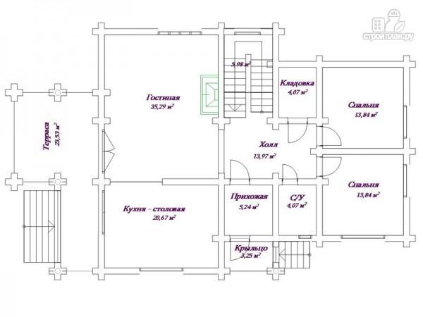 Фото 2: проект бревенчатый дом 13х18 с террасой