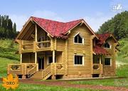 Проект бревенчатый дом 13х18 с террасой