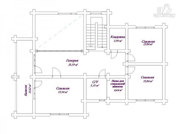 Фото 3: проект бревенчатый дом 13х18 с террасой