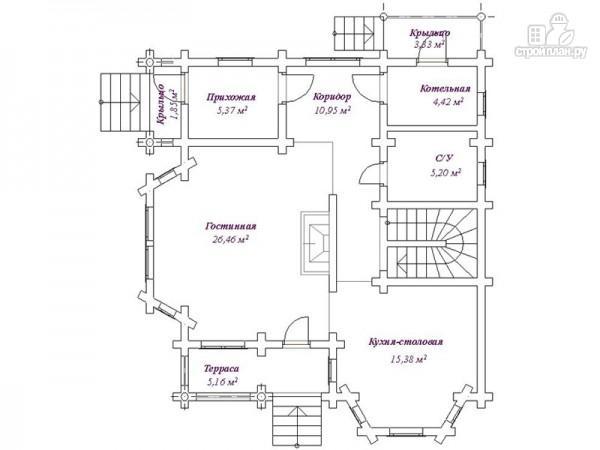 Фото 2: проект бревенчатый дом 9х10 с эркером