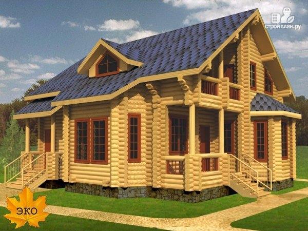 Фото: проект бревенчатый дом 9х10 с эркером