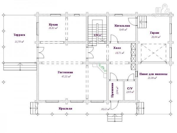 Фото 3: проект бревенчатый дом 10х12 с гаражом и навесом для машины