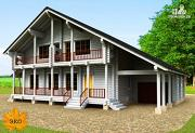 Проект бревенчатый дом 10х12 с гаражом и навесом для машины