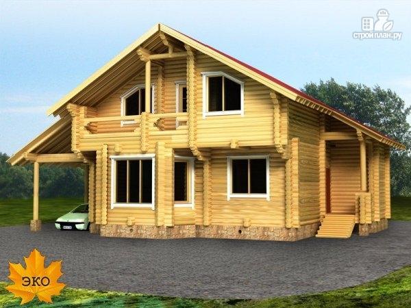 Фото: проект бревенчатый дом 11х13 с навесом для машины