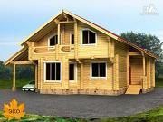 Фото: бревенчатый дом 11х13 с навесом для машины