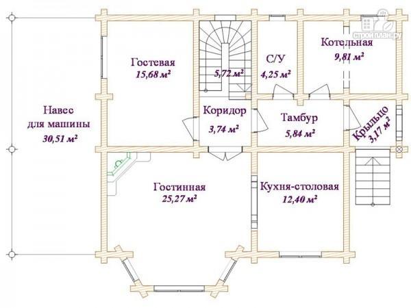 Фото 3: проект бревенчатый дом 11х13 с навесом для машины