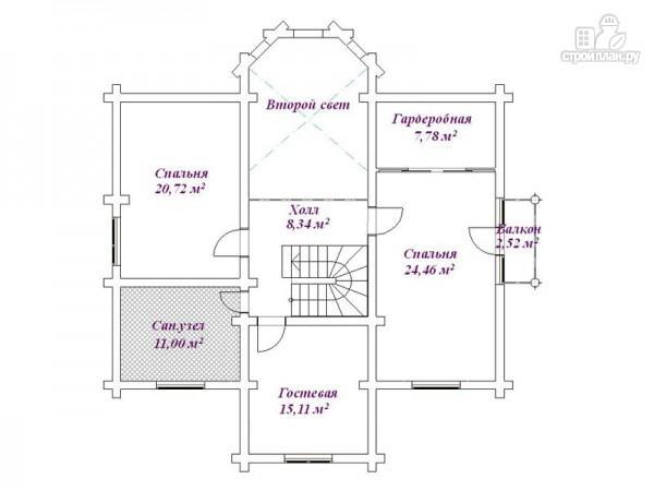 Фото 3: проект дом бревенчатый с гаражом