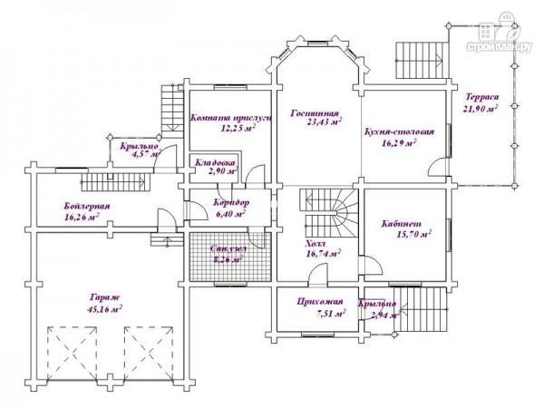 Фото 2: проект дом бревенчатый с гаражом