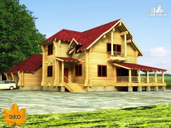 Фото: проект дом бревенчатый с гаражом