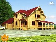 Проект дом бревенчатый с гаражом