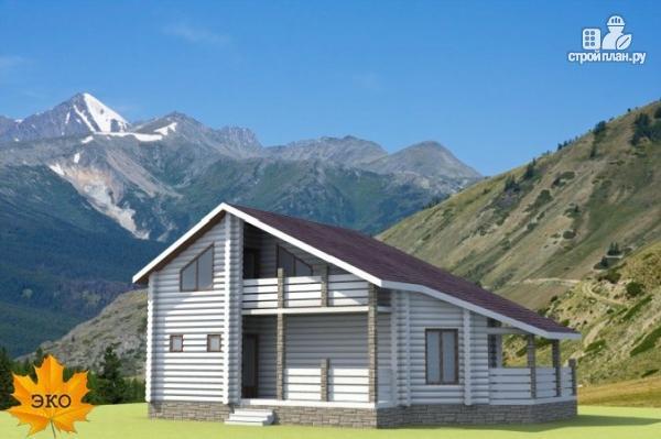 Фото: проект бревенчатый дом с террасой и вторым светом