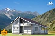 Проект бревенчатый дом с террасой и вторым светом