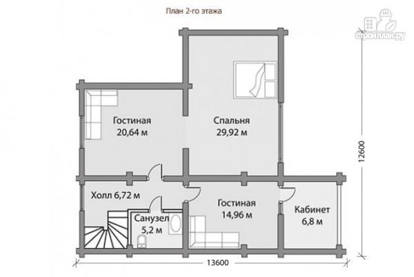 Фото 5: проект бревенчатый дом с террасой и балконом