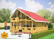 Фото: бревенчатый дом с террасой и балконом