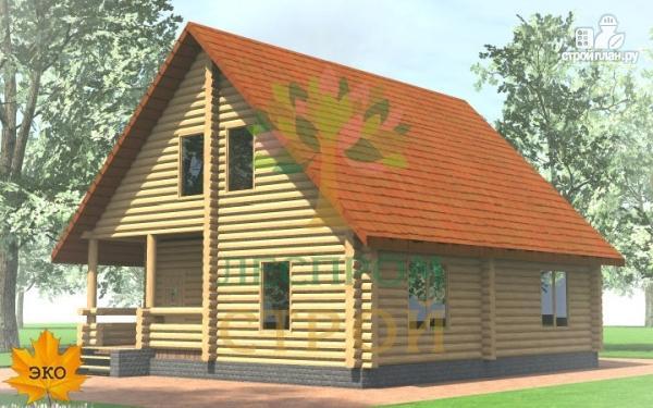 Фото 2: проект бревенчатый дом с крыльцом