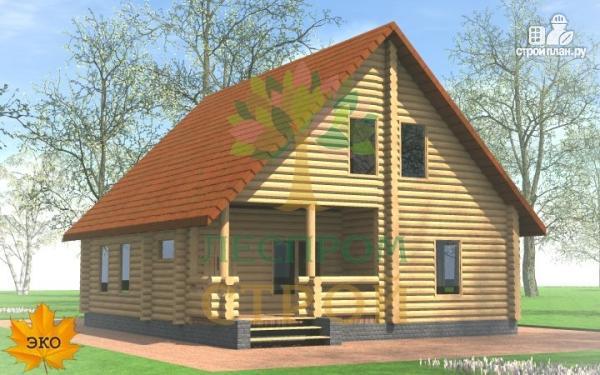 Фото: проект бревенчатый дом с крыльцом