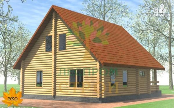 Фото 4: проект бревенчатый дом с крыльцом