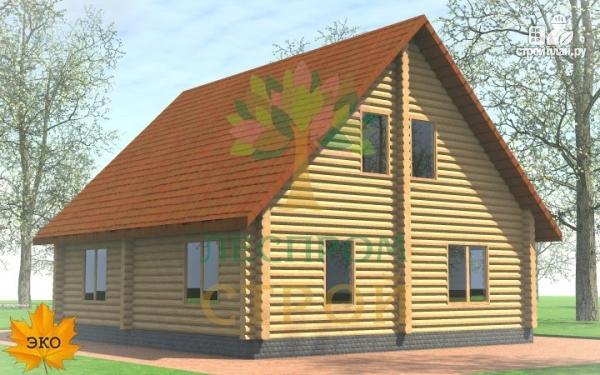 Фото 3: проект бревенчатый дом с крыльцом