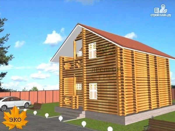 Фото: проект дом бревенчатый в полтора этажа с крыльцом и балконом