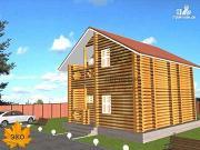 Проект дом бревенчатый в полтора этажа с крыльцом и балконом