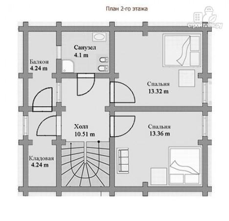 Фото 3: проект дом бревенчатый в полтора этажа с крыльцом и балконом