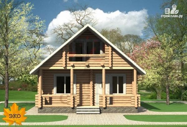 Фото 4: проект бревенчатый дом с балконом и террасой