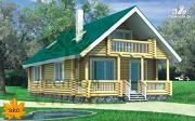 Фото: бревенчатый дом с балконом и террасой
