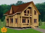 Фото: дом из бревна с печью