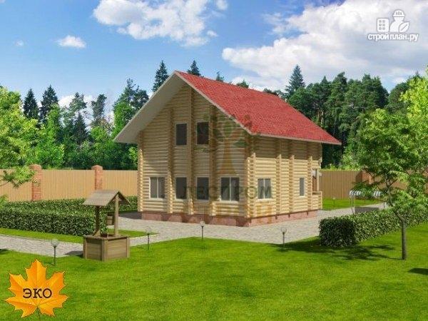 Фото 2: проект дом из бревна с террасой и балконом