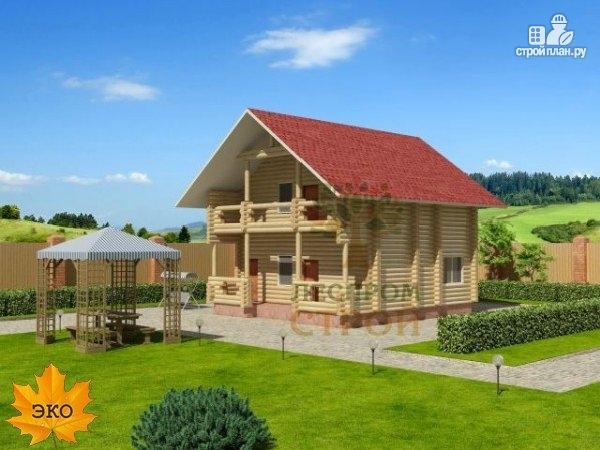 Фото: проект дом из бревна с террасой и балконом