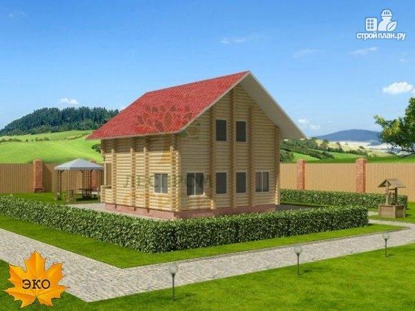 Фото 3: проект дом из бревна с террасой и балконом