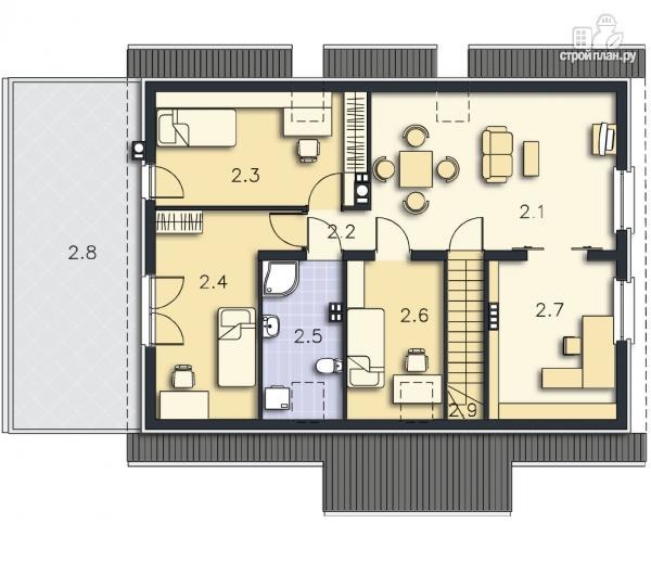 Фото 10: проект дом с террасой на втором этаже