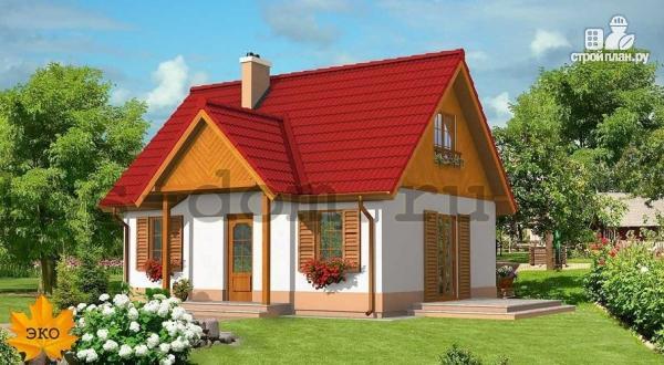 Фото: проект уютный брусовой дом с камином