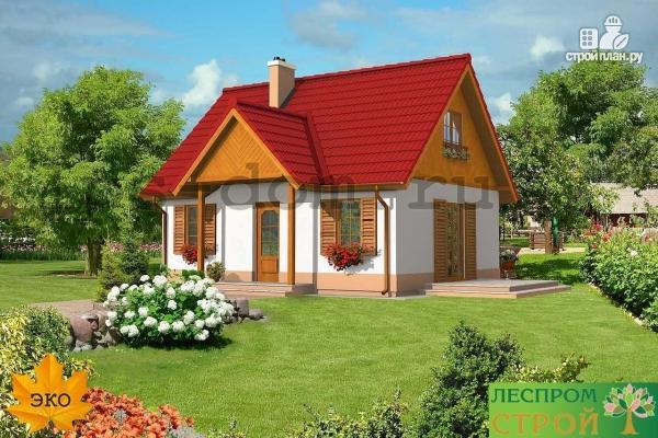 Фото 3: проект уютный брусовой дом с камином
