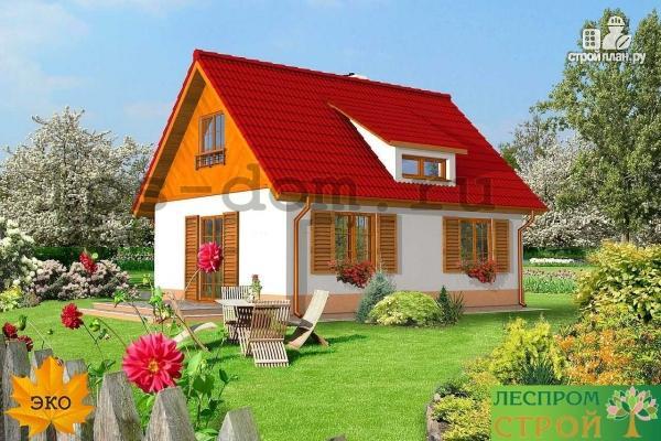 Фото 2: проект уютный брусовой дом с камином