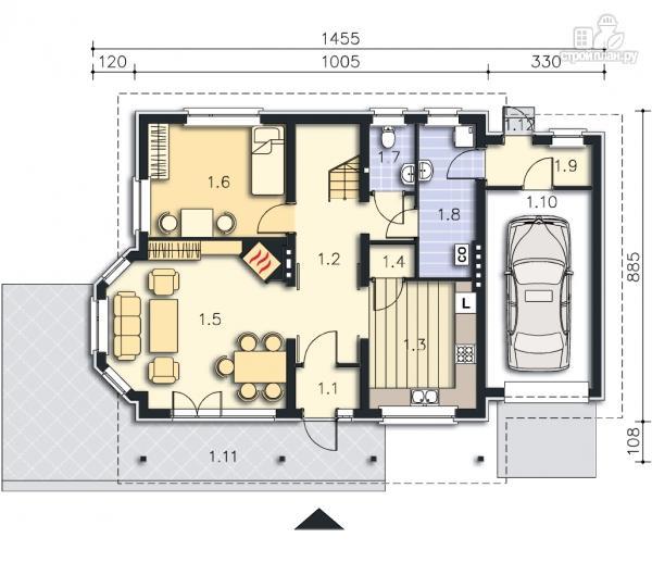 Фото 9: проект дом из бруса с гаражом и мансардой