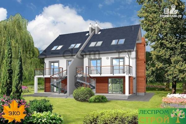 Фото 3: проект трёхэтажный дом из бруса на две семьи