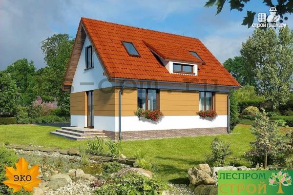 Фото 2: проект дом с мансардой и камином