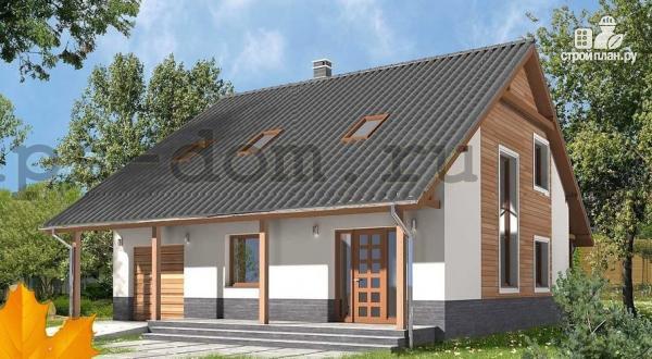 Фото: проект брусовой дом с камином и гаражом