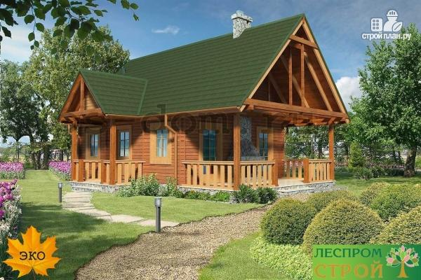 Фото 6: проект дом из бруса с камином на террасе