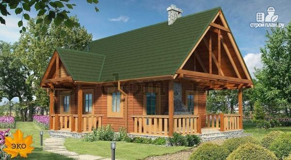 Фото: проект дом из бруса с камином на террасе