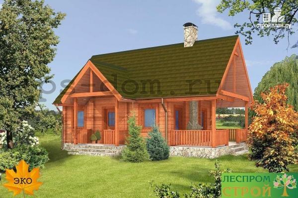 Фото 3: проект дом из бруса с камином на террасе