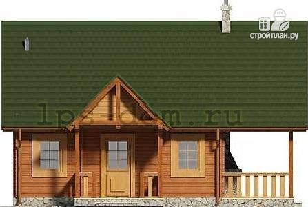 Фото 7: проект дом из бруса с камином на террасе