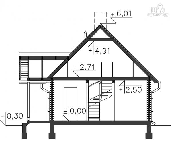 Фото 14: проект дом из бруса с камином на террасе