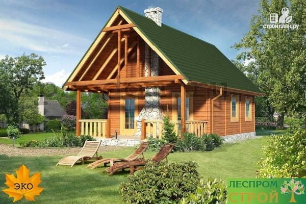 Фото 2: проект дом из бруса с камином на террасе