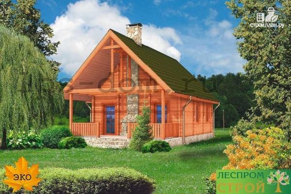 Фото 5: проект дом из бруса с камином на террасе