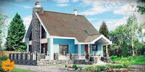 Фото: проект дом из бруса с большой террасой