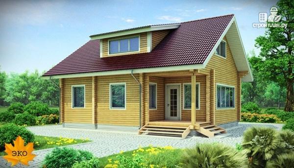 Фото: проект дом из сухого профилированного бруса с верандой