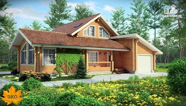 Фото: проект дом из бруса с гаражом