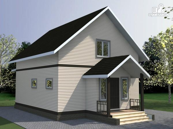 Фото 2: проект брусовой дом с мансардой и эркером